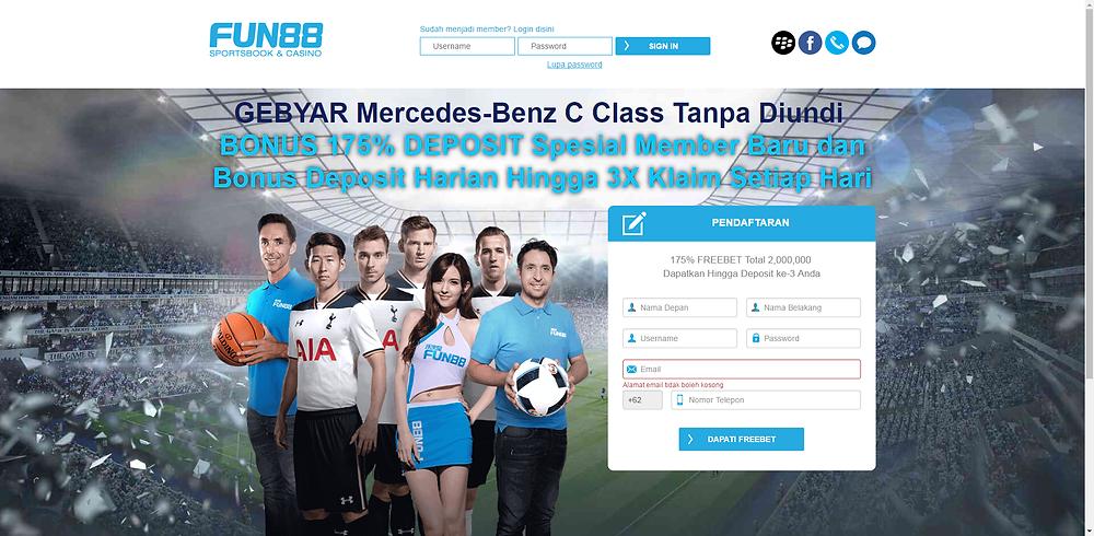 Halaman Pendaftaran Kilat Fun88 Indonesia