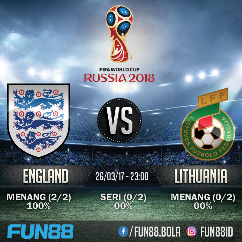 Prediksi World Cup Eropa - England v Lithuania