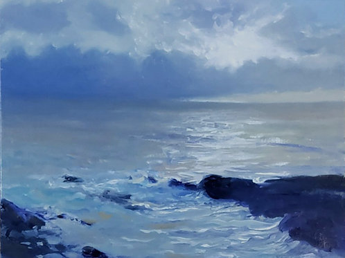 SOLD<    Clouds Ocean , Oil on Panel 6 x 8 inches