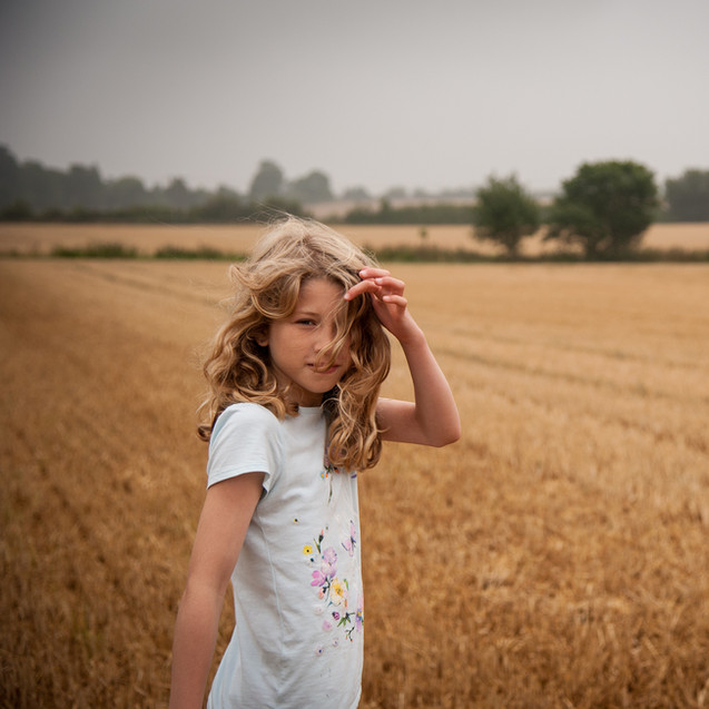 running in a corn field