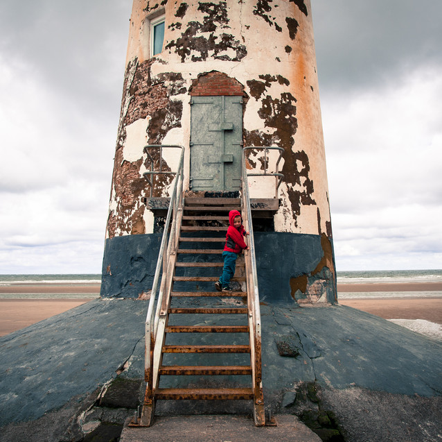 playing at a lighthouse