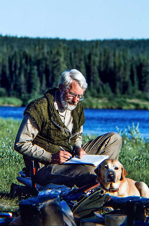 William W. Forgey MD, author of The Prepper's Medical Handbook, Wilderness Medicine,Jack dog, Doc writing, Summer camp, Northern Manitoba Canada