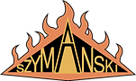 Szymanski Logo bordered by flames.