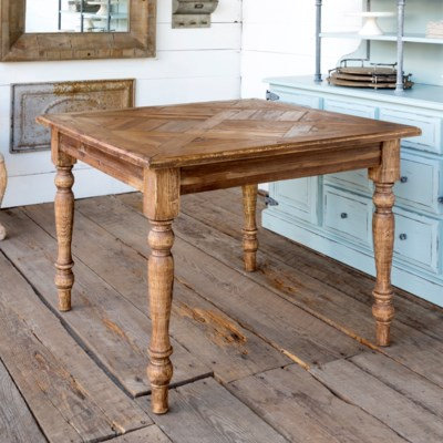 OLD PINE PARQUET TOPPED TABLE