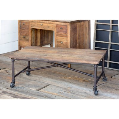 RECLAIMED WOOD W/METAL COFFEE TABLE