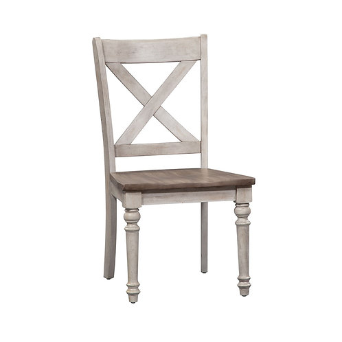 Cottage Lane X Back Wood Seat Side Chair