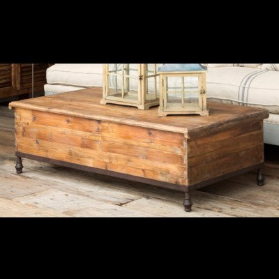FOOTED OLD PINE TRUNK COFFEE TABLE