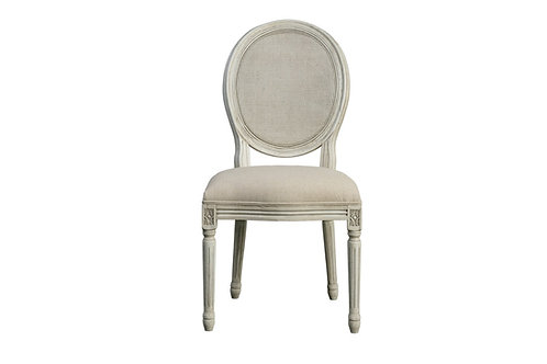 ROUND MESH BACK MAXWELL COTTAGE WHITE SIDE CHAIR