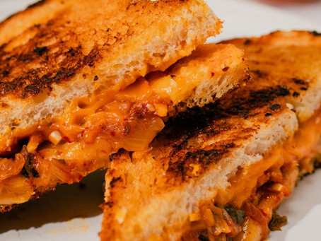 Melty Kimchi Grilled Cheese in under 10 Minutes