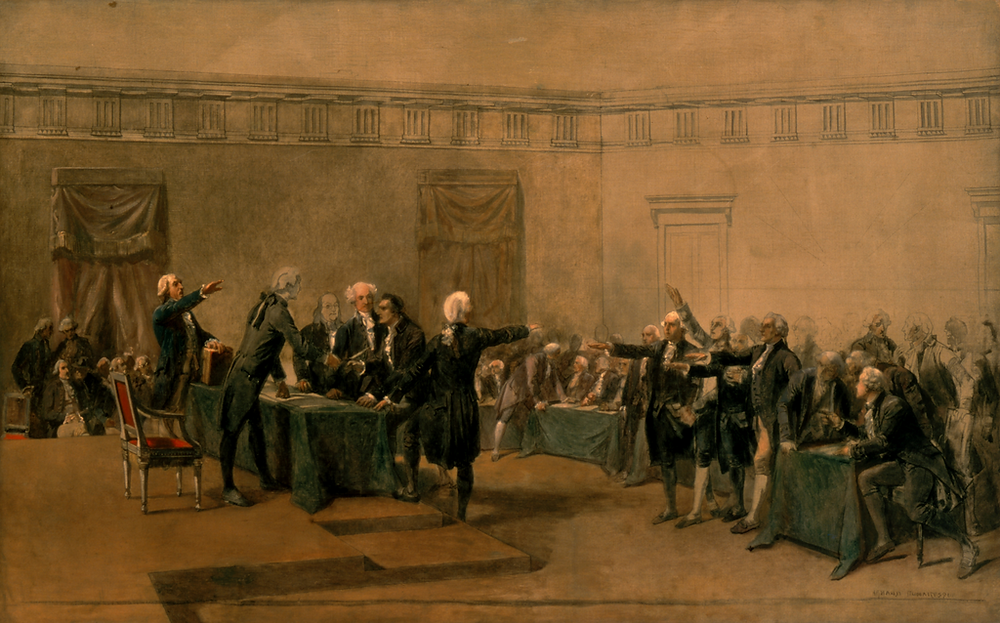 The Declaration of Independence of the United States of America, by Armand-Dumaresq, (c. 1873) which has been hanging in the White House since the late 1980s.