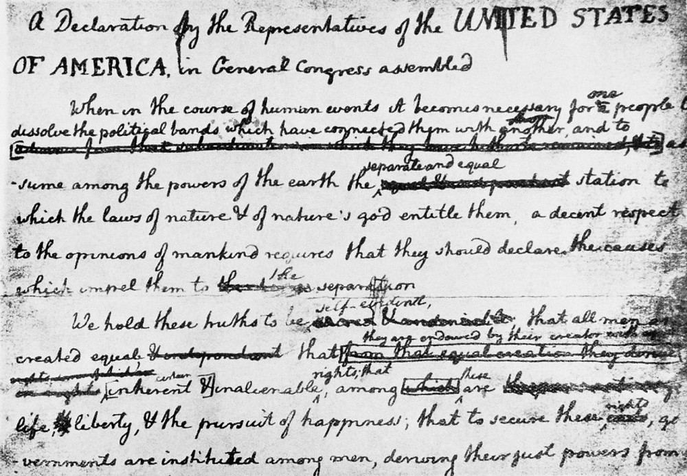 A rough draft of the Declaration of Independence.