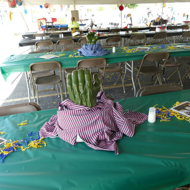 Table Decorations under main tent