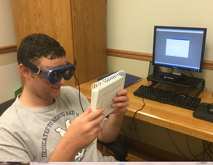 patient participating in vision therapy with therapy VR glasses