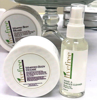 Hand & Surface Cleaner Spray and Whipped Body Mousse Set
