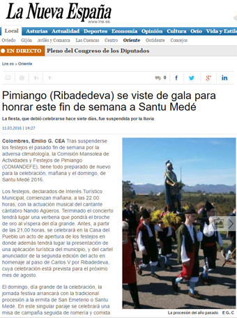 Pimiango (Ribadedeva) se viste de gala para honrar este fin de semana a Santu Medé