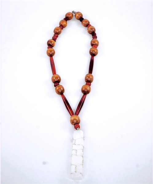 Hand Wrapped Selenite Red & Brown Necklace