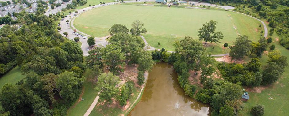Victor Ashe Park, over pond towards soccer fields - center