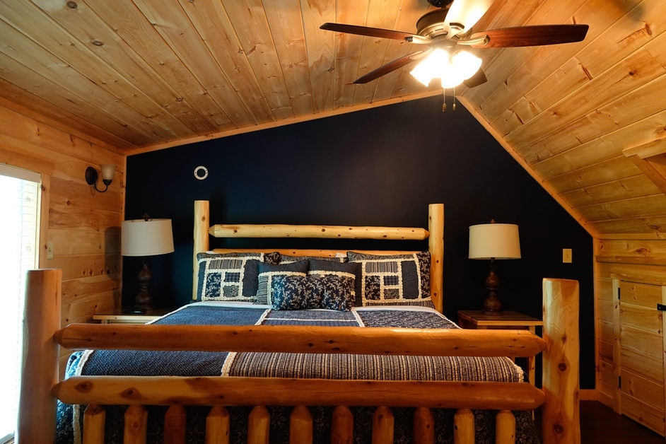 bold bedroom in blue