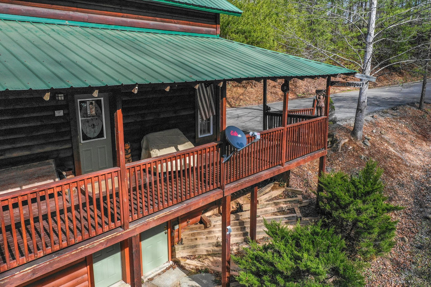 cabin porch from the air