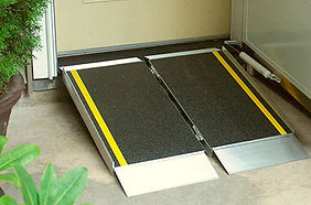 wheelchair ramps (permanent or stationary) roll in showers, bathroom remodel, doorway widening