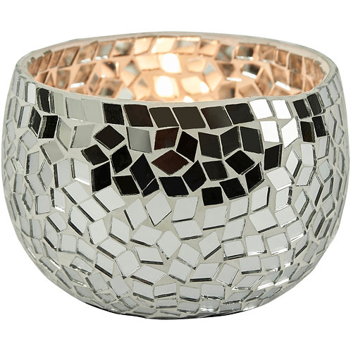 Silver Mosiac Candle Holder