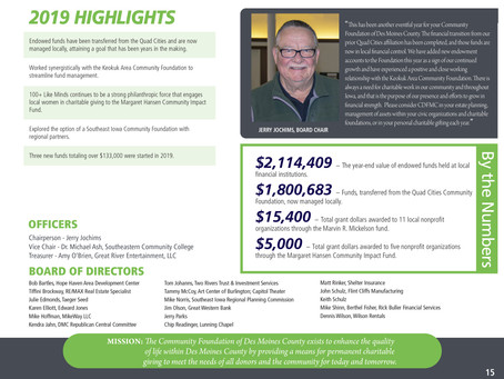 2019 Community Foundation of Des Moines County Highlights.