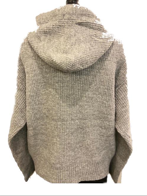 Knitted Hooded Jumper - Light Grey