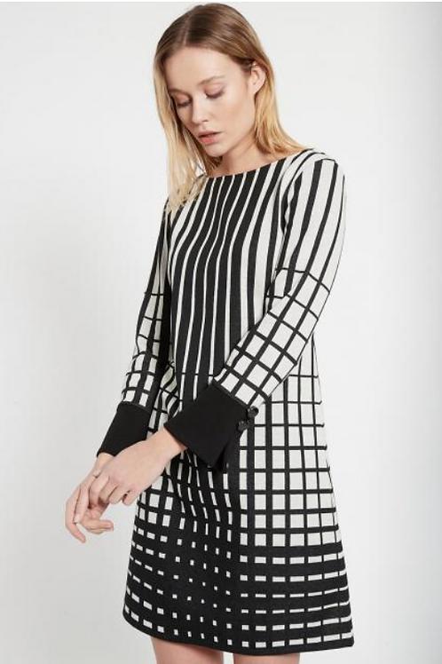 Ana Alcazar BLK & WHT A LINED BEKWY DRESS