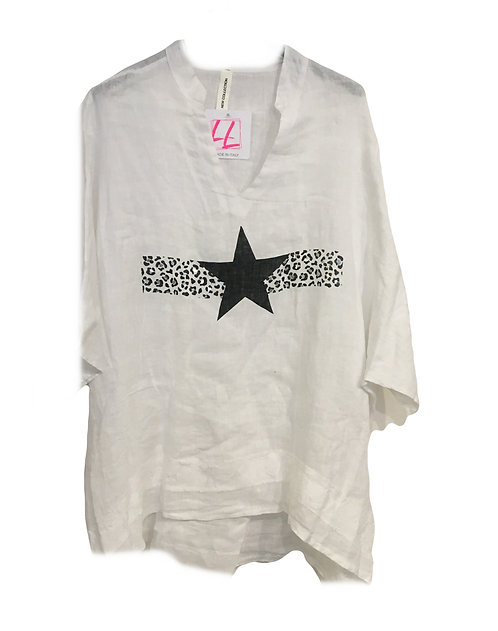 Oversized Linen Star Shirt Made in Italy