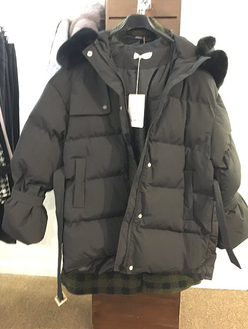 All Weather Belted Puffer Coat Faux Fur Collar