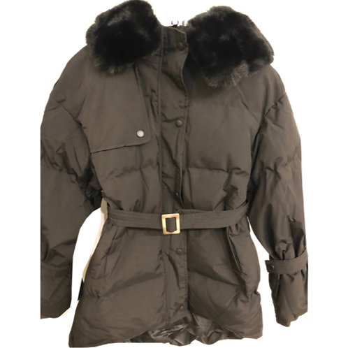 Faux fur hooded belt coat AW2020 HSC