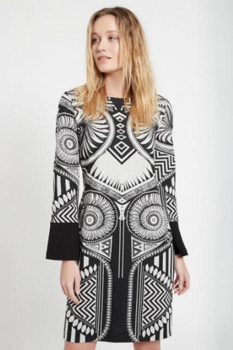 Ana Alcazar BLK & WHITE BEKMI CUFF DRESS