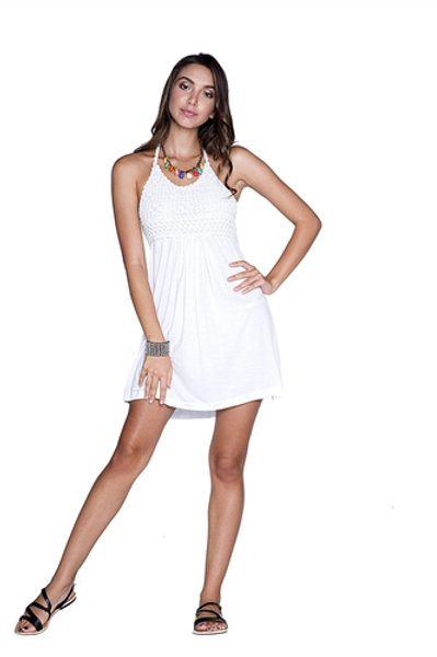 Short white crochet halter dress