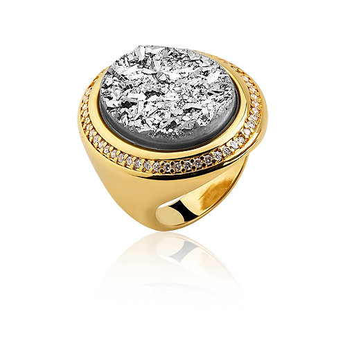 Silver Druzzy in Gold Ring