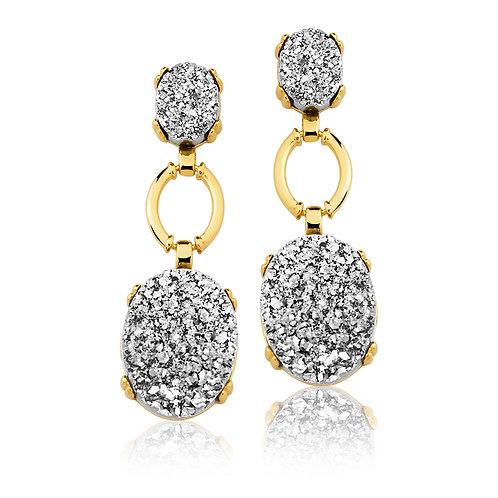 Long Silver Druzzy Earrings