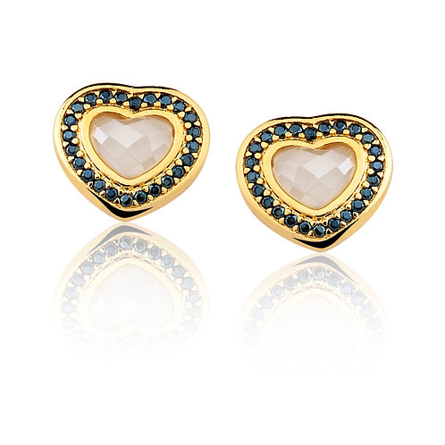 Mother of Pearl and Black Agate Heart Earrings