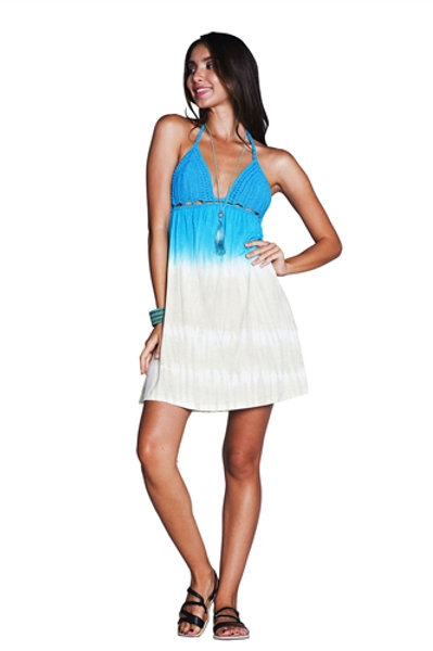 Turquoise and Beige Crochet Dress