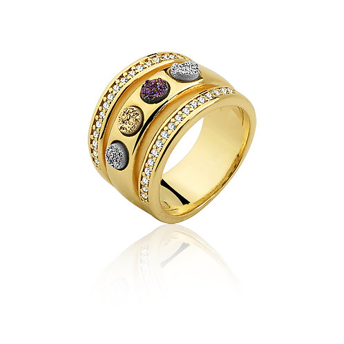 Silver, Gold and Purple Druzzy Ring