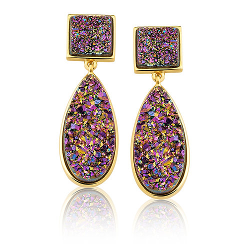 Purple Druzzy Earrings