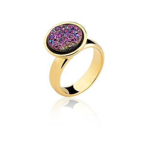Pink Flat Druzzy Ring