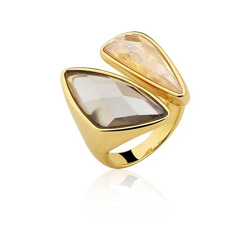Smoky and Gold Quartz Ring