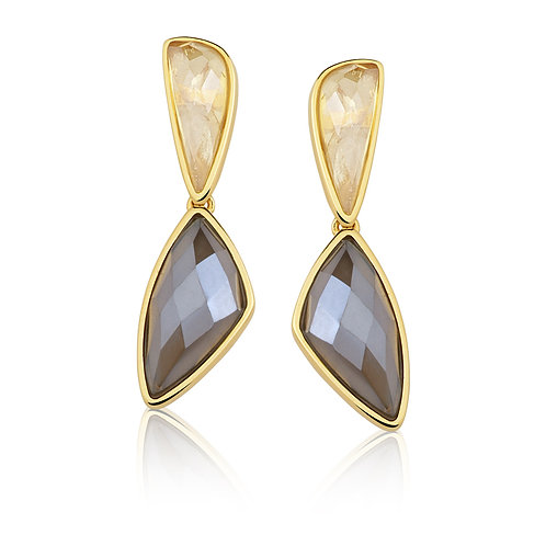 Smoky and Gold Quartz Earrings