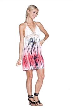 White Tie Dye Crochet Dress