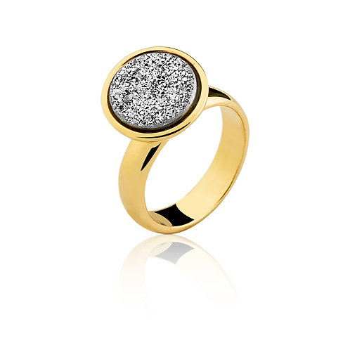 Silver Flat Druzzy in Gold Ring