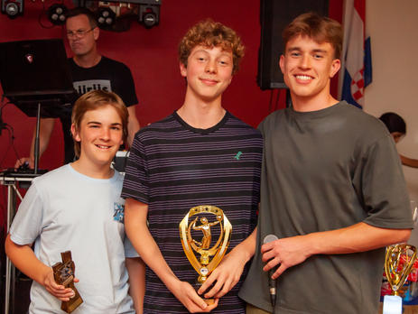 9/10 Boys Blue Coaches Award winner Kade Walker with MVP Reef Brokensha and Coach Ben Farley