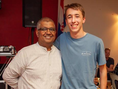 Suvas Lobo with Thomas Love who assisted Mikalya Prentice, coach of 11/12 Boys 'Blue' team