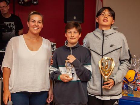Michelle Lewis (7/8 Boys Coach) with MVP Sean Cregan and Coaches Award winner Kai Lindsay