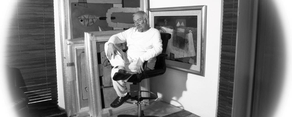 Henryk Szydlowski with artworks B&W photo