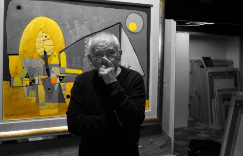 Henryk Szydlowski with an artwork B&W photo with colour pop