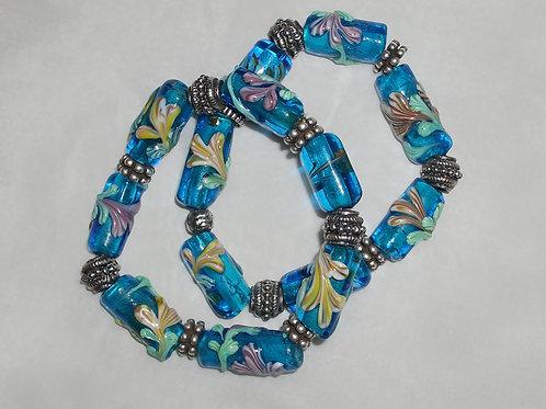 Bracelet . Italian Glass, Beads on the Torch, Handmade